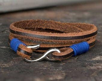 Men's Bracelet, Fish Hook Bracelet, Brown Leather Bracelet, Men's Jewelry, Gift For Men, Boyfriend, Husband