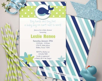 Under the Sea Whale Baby Shower Blues Invitation