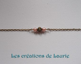 Bracelet 3 beads, bronze and peach pink