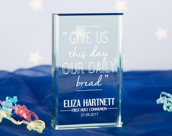 """Personalised """"Daily Bread"""" Jade Glass Block - Religious Gift, Communion Gift, Gifts for Him, Gifts for Her, First Holy Communion Gift"""