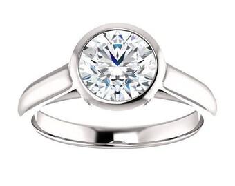 Forever One Moissanite Engagement Ring- Rosalyn | round | moissanite solitaire engagement ring