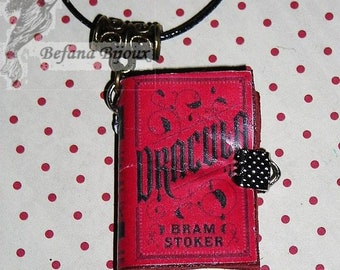 Book necklace leather Dracula Bram Stocker (book necklace)