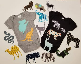 Jungle / Safari theme baby shower iron on appliques for DIY baby shower activity/game. Customize your order via message!