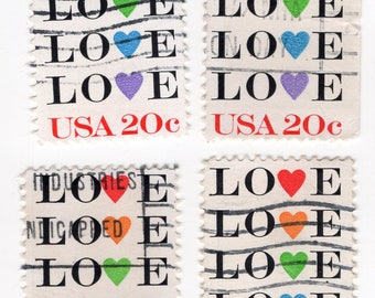 Love Hearts Stamps - Used - Off Paper - 1984 - 5 Stamps - Scott 2072