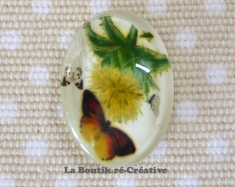 1 x Pearl Butterfly flower 25x18mm glass cabochon
