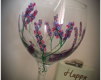 Large Gin Glass. Unique 'Sweet Pea' hand painted and dishwasher safe beautiful Glasses. 645ml