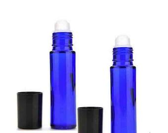 6 Cobalt Glass Roll On Bottles - 10 ML