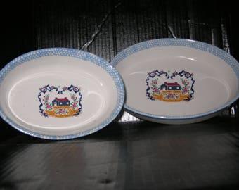 Teamson 2 Oval Stoneware Baking dishes