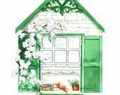 Literary Window Series: Anne of Green Gables inspired 5x7 Watercolor Art Print, Children's Books, Classic Literature