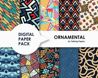 Colorful Digital Paper - Digital Paper Pack - Ornamental Scrapbook Paper - Printable Paper - Colorful Background - 12x12 - Instant Download