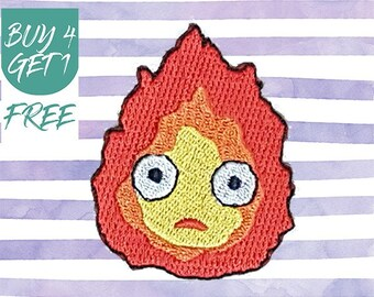 Calcifer Patch Flame Patches Iron On Patch Embroidered Patch Sew On Patch Patches For Jeans