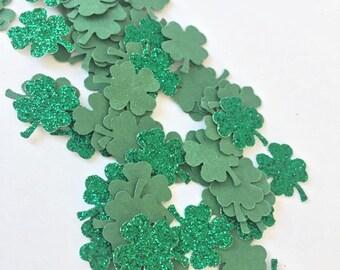 100pcs St Patrick's day Shamrock Clover confetti // table decoration green glitter shiny paper cutout Ireland Irish Mixed