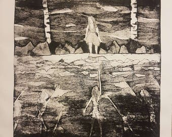 Sinking (Collograph Print - Limited Edition)