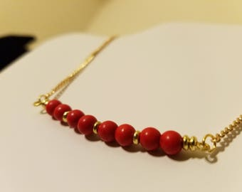 Red and Gold Metal and Shell Curved Beaded Bar Necklace