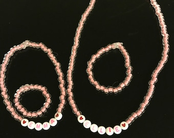 Matching necklace and bracelet for little girls and their doll
