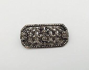 1910 Antique English Silver Marcasite Brooch, Geometric Marcasite Vintage Brooch Marcasite.
