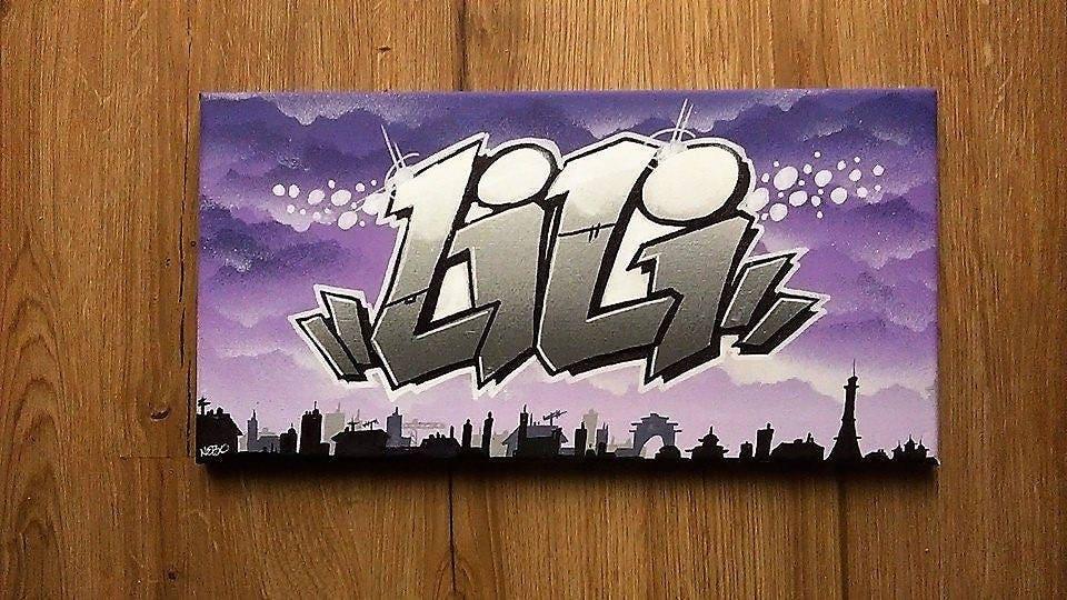 Toile tableau graffiti tag pr nom street art d co murale - Prenom en tag ...