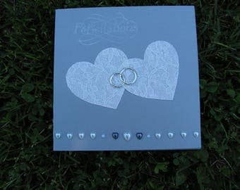"Wedding congratulations card, ""Double hearts"""