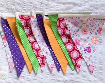 A pop of colour bright colourful fabric bunting perfect for girls bedroom or nursery