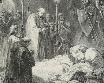 Death of Saint Louis, Tunisia 1874 - Old Antique Vintage Engraving Art Print - Cross, Candle, Bible, Priest, Chair, Praying, Sheild, Sword