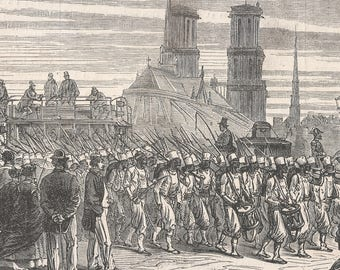 Arrival in Paris of the Egyptian Batallion to return from Mexico - The Battalion passes on the bridge of Austerlitz, Egypt 1867