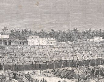 Iraq 1885, Grand market place for wheat, Old Antique Vintage Engraving Art Print, Market, Man, Woman, Child, Animal, Camel, Shopping, Trader