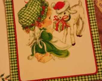Vintage Greeting Card - Bonnets Christmas Originals Card - Bonnet Girl with Lamb Christmas Card - J. Phakos