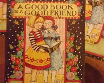 "Vintage Antioch Book Plates - ""A Good Book Is A Good Friend""  - Mary Engelbreit - Set of 3 Bookplates"