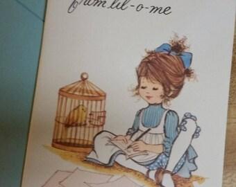Vintage Greeting Card - Vintage Blank Note Card - Blue Dress Pioneer Girl Writing a Note