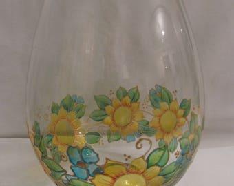 Hand Painted Glass Sunflower Vase