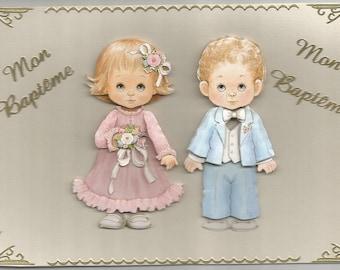 Baby, baptism, communion, 3d card, handmade, category baptism - congratulations, ceremonial, religious, baptism, twins, brother, sister.