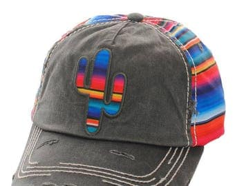 Grey/Gray Distressed Denim Cactus Rainbow Baseball Cap - Fully Adjustable One Size Fits All - Made In USA
