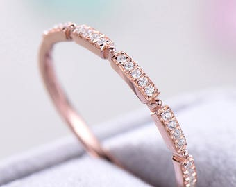 Rose Gold CZ Diamond Wedding Band 925 Sterling Silver Unqiue Antique Women Bridal Anniversary Stacking Ring Promise Matching Band for her