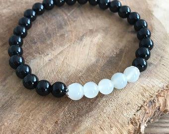 Bracelet Onyx and Moonstone