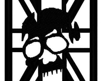 Union Jack Skull Embroidery File