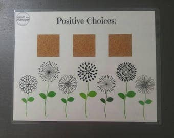 Positive Choices: Laminated Flower Chart for Daily Routines, Tasks or Chores