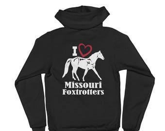I Love Missouri Foxtrotters Unisex Zip Hoodie