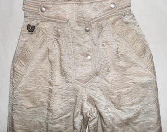 Ungaro Paris Exclusive Rare Vintage Ski Pants,Sz IT42,UK 32-8,Shiny beige