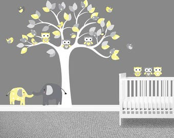 Unisex nursery wall decal, Yellow, Chevron, Owl tree wall decal, Elephants, Owl stickers, Baby wall decals, Cheap, Gray, Polka dots