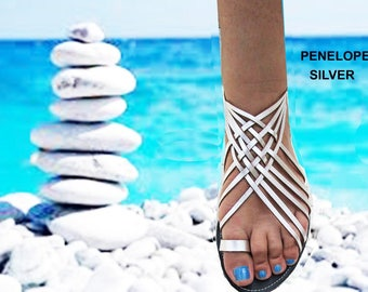 Sandals Women's,Women's Sandals, Greek Santals,Wedding Santals,Handmade Sandals,Ladies Santals, Leather Sandals, Silver Sandals, PENELOPE