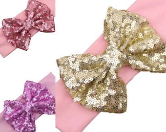 Girls sequin bow headband. Sparkly girls biw headband, pink, pink and gold, rose pink. Birthday headbands, cake smash, christmas headbands