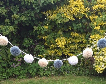 Fluffy wool pom pom garland, wall hanging, garden, house, home, decor, handmade, wool, unique, bunting, outdoors, multicoloured, pom-pom