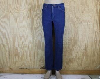 Vintage 1980's WRANGLER Denim Blue Jeans Dark Wash Western Cowboy 31 x 29