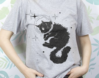 Tshirt with cat Shirt space Tshirt astronaut White cat shirt Tshirt of art Tshirt youth Tshirt art Shirt for women Tshirt girls EDS_262