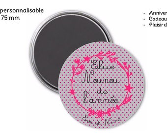 magnet magnet 75 mm personalized - gift for nanny
