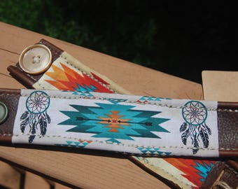 Leather Cuff Bracelet with Native American print fabric