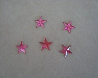 Set of 5 rhinestone stars to paste fuschia pink