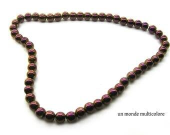 10 beads Hematite 8 mm dark purple color