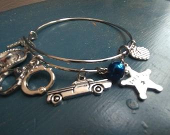 Sheriff - Sheriff - Adjustable Bangle Charm Bracelet Silver