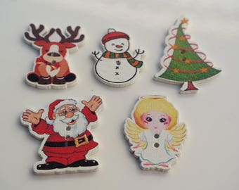 Button, wooden Santa, 36 x 35 mm, fancy button